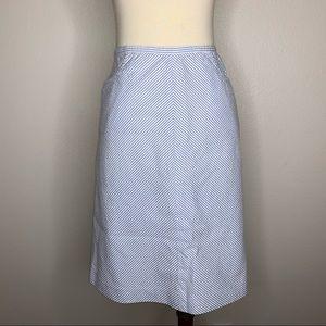 Ann Taylor Blue Striped Midi A-line Skirt